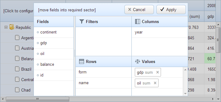 webix pivot table