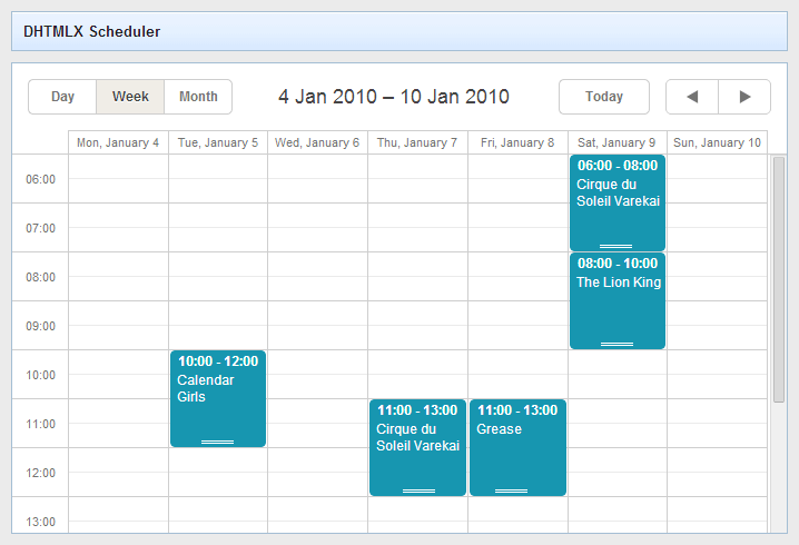 webix integration with scheduler