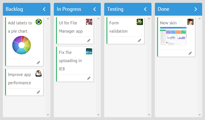 webix javascript kanban board with avatars