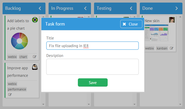 Edit icon in JavaScript Kanban Board