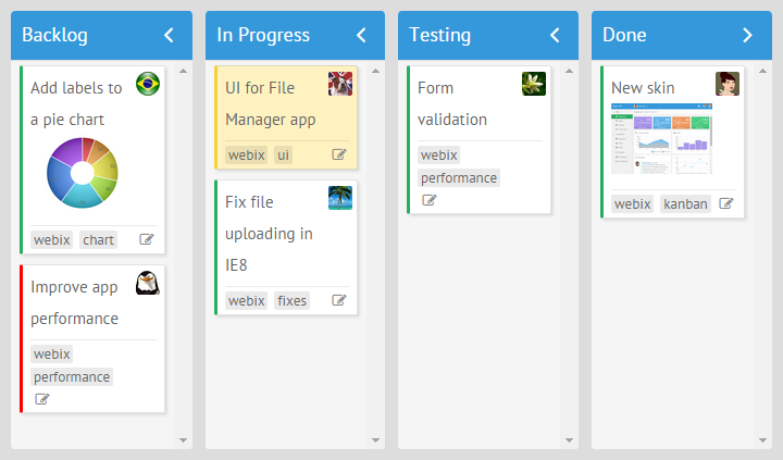 Setting the background color for a task in Webix Kanban Board