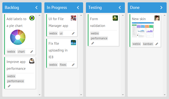 webix kanban board with tags