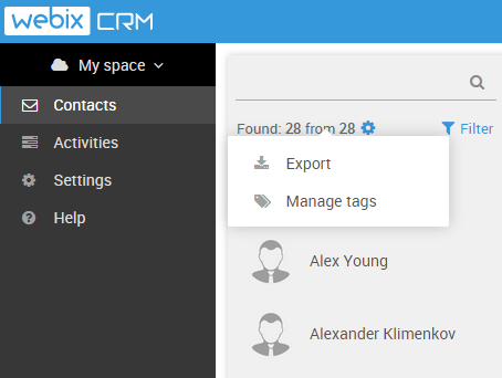 export in webix crm