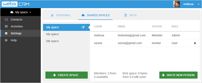Shared Spaces in Webix CRM