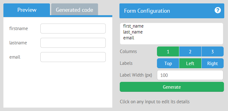 Webix Form Builder for generating web forms