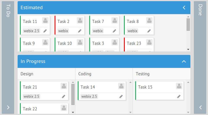 Complex structure in Kanban Board