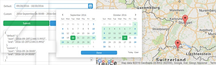 Date range picker, Google maps widget