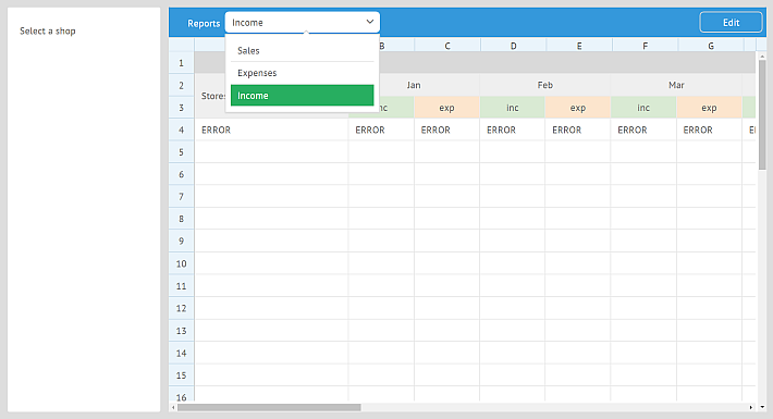 Augmenting the Skeleton of reporting in SpreadSheet