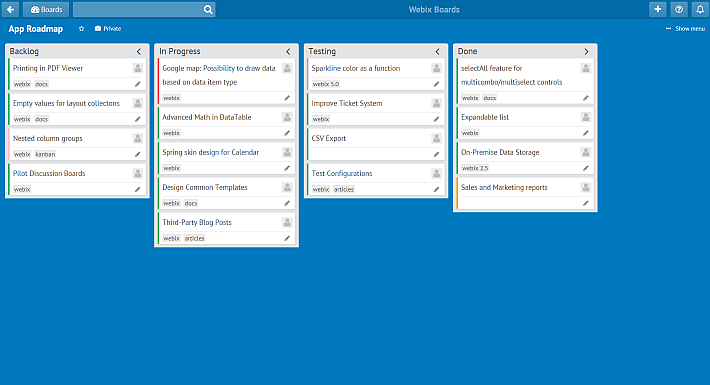 menu similar to trello kanban board online with webix