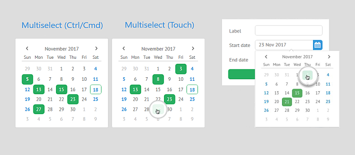 webix multiselect for calendar and date picker