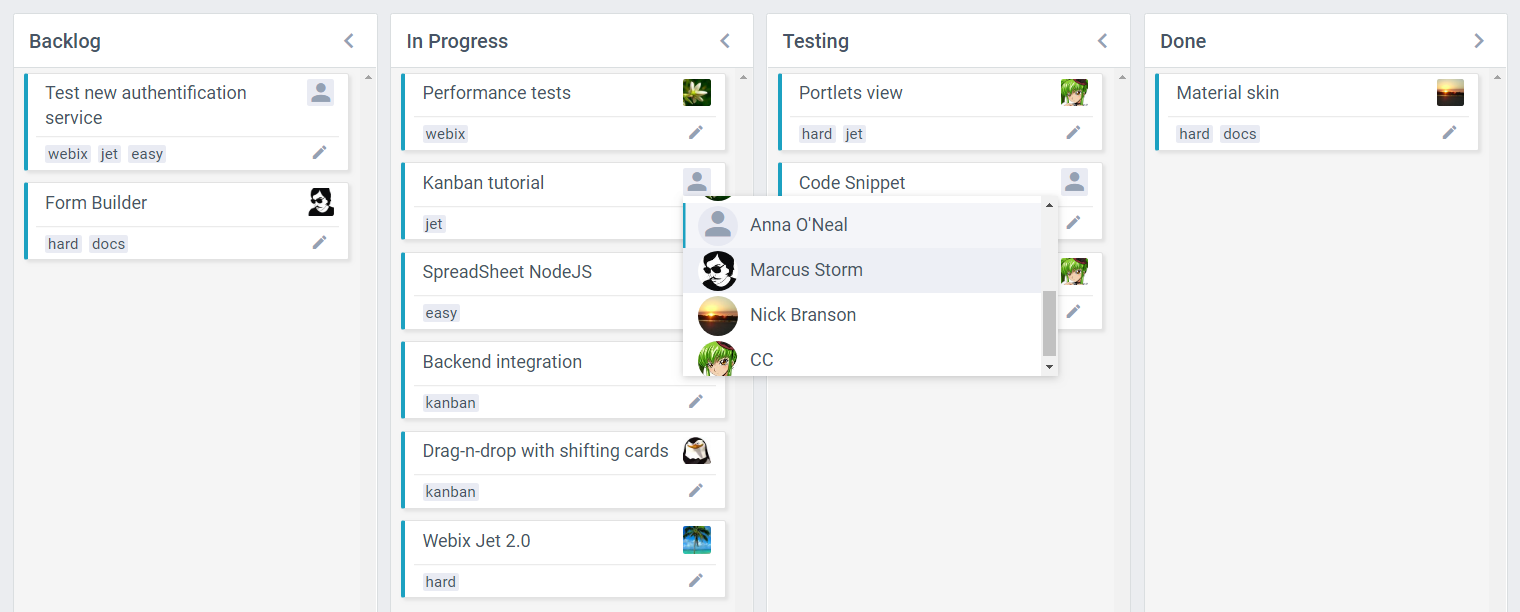 Webix 6.1 Kanban with user list