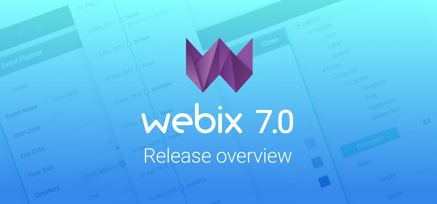 Webix 7.0: UI Designer, Webix Tutorials, and Timeline Widget