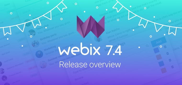 Birthday Release of Webix 7.4: Chat Widget, Updates for Document Manager and Spreadsheet